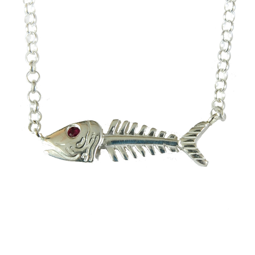 B068 Bonefish Sterling Silver Sideways Necklace